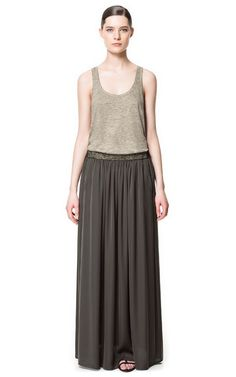 LONG SKIRT WITH BEADED WAISTBAND from Zara