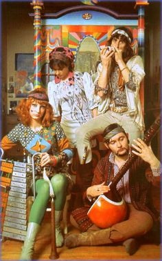 """The Fool, 1968. Behind them you can see that amazing painted cabinet which 'appeared' in """"Wonderwall"""""""