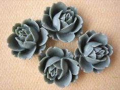 4PCS  Rose Flower Cabochons  Resin  18mm  Gray  by ZARDENIA, $3.00