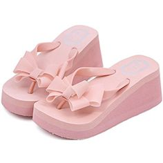best service 247af 50e26 Women Bowknot Thong High Heel Beach Sandals Shoes US 6 Pink -- Read more at