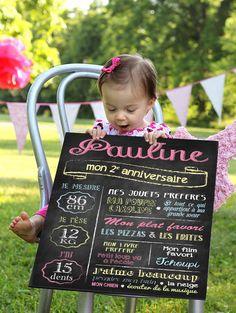 Affiche Anniversaire personnalisée pour fille ou garçon - modèle Ardoise - plusieurs coloris possibles(impression sur papier haut de gamme)