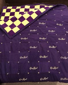 Crown Royal Quilt, gold embroidery thread to make x to tie the quilt. Crown Royal Quilt, Crown Royal Bags, Quilting Projects, Quilting Designs, Diy Projects, Royal Pattern, Make A Crown, Quilting Board, Gold Embroidery