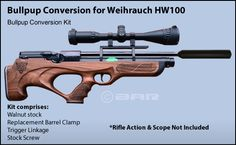 Weihrauch HW100  Kit comprises:  Walnut stock Replacement Barrel Clamp Trigger Linkage Stock Screw DIY conversion is very simple.     Deposit will reserve one kit in a strict first come first served business.  . We will do our utmost to give you an approximate delivery date, as of 10/12/15 we are quoting approx 2 months .