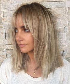 Ash Blonde Lob With Bangs