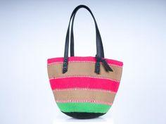 KESI: Pink and Green Wool Bag - The Basket Room   - 1