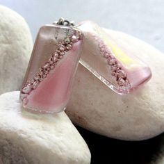Beige and Pink Fused Glass Bead Earrings by carolinascreations, $9.00