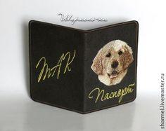 """Обложка на паспорт вышитая """"Золотистый ретривер"""" - собака,вышивка,обложка на паспорт"""