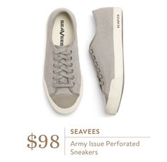 Seaves Army Issued Perforated Sneakers. I love Stitch Fix! Personalized styling service and it's amazing!! Fill out a style profile with sizing and preferences. Then your very own stylist selects 5 pieces to send to you to try out at home. Keep what you love and return what you don't. Try it out using the link! #stitchfix https://www.stitchfix.com/referral/5634870
