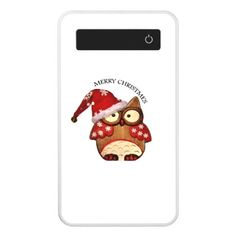 Santa Owl with a red Santa hat Power Bank - stylish gifts unique cool diy customize