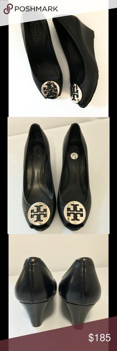 Tory Burch Heels Tory Burch Black Leather Silver Hardware Heels 👠 Women's Size 71/2 Medium 👠👠🎉Store Display 🎉🎉Been Tried on only! Tory Burch Shoes