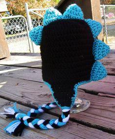 3-6 month Black Turquoise Dinosaur Earflap Beanie. $20.00 on Etsy!