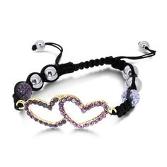 Black Laced Shamballa Bracelet with Lavender Cz Encrusted Double Heart Just $0.01 + $3.99 shipping