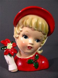 Inarco CHRISTMAS LADY Head Vase