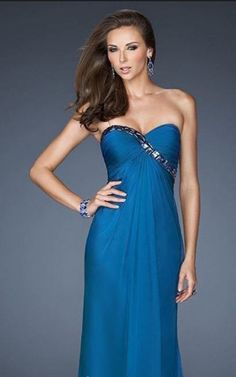 Midnight Blue Long Strapless Dress for Prom by La Femme 18186Outlet