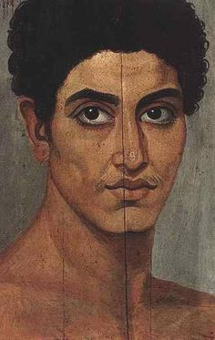 During the 1st to 3rd century AD in Egypt. The portraits were attached to burial mummies at the face, from which almost all have now been detached. In terms of artistic tradition, the images clearly derive more from Graeco-Roman traditions than Egyptian ones. The population of the Faiyum area was greatly enhanced by a wave of Greek immigrants during the Ptolemaic period, initially by veteran soldiers who settled in the area.