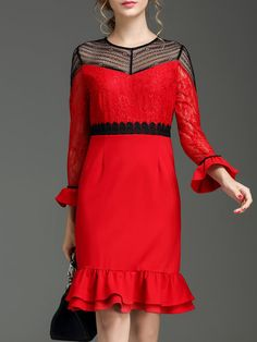 Shop Midi Dresses - Red Paneled Frill Sleeve Midi Dress online. Discover unique designers fashion at StyleWe.com.
