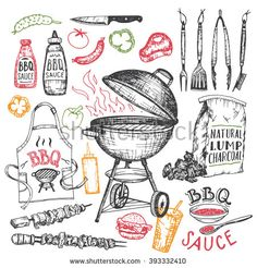 Barbecue grill hand drawn elements set isolated on white background. Cookout…