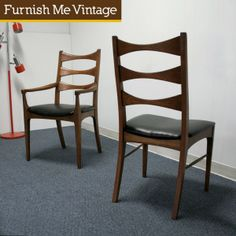 6 Danish Style Mid Century Modern Dining Chairs by Lane