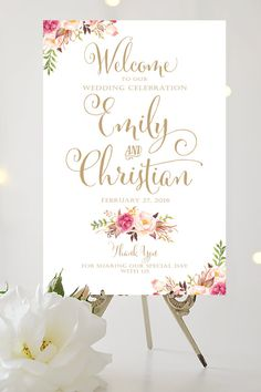 Wedding Welcome Sign - Large Wedding Poster - Romantic Blooms - Bella Antique Gold - Personalized - I Create and You Print Wedding Programs, Wedding Signs, Wedding Ceremony, Wedding Ideas, Wedding Cards, Welcome Poster, Wedding Posters, Photo Booth Frame, Welcome To Our Wedding