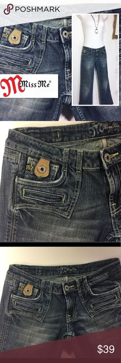 """Rare Vintage MISS ME Leather Tab Pocket Jean Want a pair of one-of-a-kind Jeans!! Vintage Miss Me jeans boot cut A pair of very loved jeans!!  Features 5 pockets on front and 4 on the back with leather detailed button tabs. Classic Miss Me leather tag on back and rhinestone """"M"""" on back pocket. No missing details!! Great shape!! Style - JP4374 Color - Tacoma Miss Me Jeans Boot Cut"""