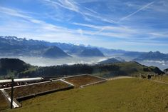 View from the Rigi of the Lake of Lucerne surroundings in Switzerland