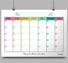 Monthly templates in high PDF files to be printed on standard quot; x 11 quot; There is no dates written in the planner and you can choose 3 colours patterns. Monthly Planner Printable, Printable Blank Calendar, Monthly Calendar Template, Diy Calendar, School Calendar, Planner Template, Teaching Calendar, Schedule Templates, Calendar 2018