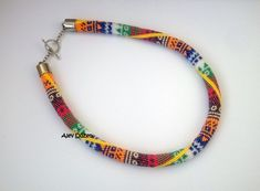 Colorful Colors Bead Crochet Necklace   Beaded by alevduzen