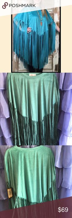 Turquoise Fringe Poncho Super soft ultra suede cover-up.  Great for cool summer evenings. So pretty!  Turquoise color is closer to product pics. Cowgirl Justce Jackets & Coats Capes