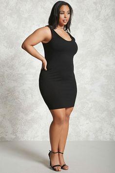 Plus Size Bodycon Tank Dress Plus Size Bodycon Dresses, Plus Size Cocktail Dresses, Plus Size Dresses, Midi Dresses, Party Dresses, Thick Girl Fashion, Curvy Women Fashion, Plus Size Fashion, Molliges Model