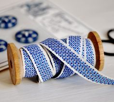 Blue and white, French, vintage trim. by marci