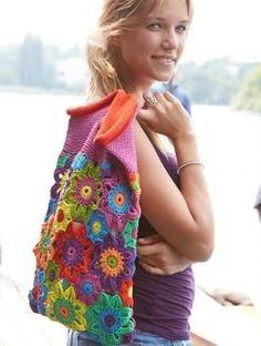 Bunte Blütentasche, S9023 - Gratisanleitung