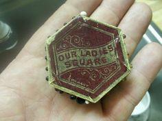 Rare Antique German Hexagonal Pin Cushion & 75 Glass Head Pins