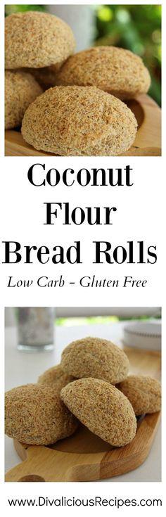 Coconut Flour Bread Rolls  Low carb, gluten free, Paleo  Recipe - http://divaliciousrecipes.com/2016/06/03/coconut-flour-bread-rolls/