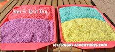 Colored Rice, made with plain rice, food coloring, and vinegar