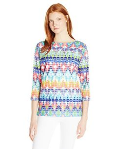 Ruby Rd Womens Boat Neck Layered Tangier Ikat Print Sheer Stripe Knit Top Dahlia Multi Large *** See this great product.