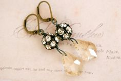 Kate. crystal rhinestone drop earrings. by tiedupmemories on Etsy, $28.00