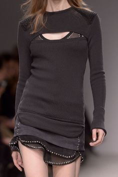 Sasha Luss (ELITE) for Isabel Marant at Paris Fashion Week Fall 2013 RTW. Source: ImaxTree. #Fashion #Black #Layers