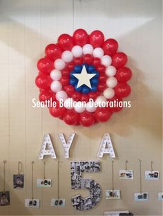 Superhero theme party. Captain America shield balloon