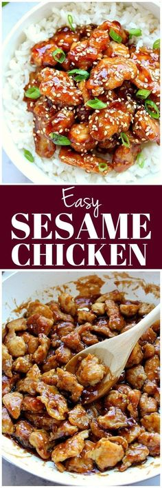 Easy Sesame Chicken Recipe - battered chicken fried in a pan and coated with sesame sauce. Popular Asian takeout dish, made easily at home. #Asianrecipes #sesame #chicken #takeout