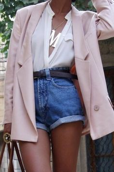 Just a Pretty Style: Street style high waist denim shorts and pastel blazer