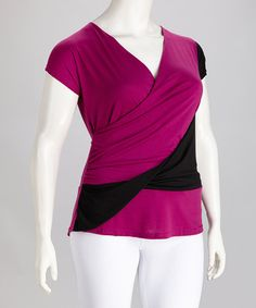 Take a look at this Magenta Color Block Plus-Size Surplice Top by Roman Fashion on #zulily today!