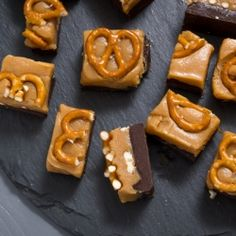 Rich chocolate and peanut butter fudge with crunchy pretzels