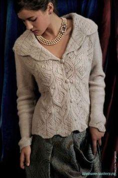 Вязание спицами для женщин Описание вязания жакета спицами Картинки увеличиваются при нажатии