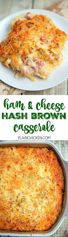 Ham and Cheese Hash Brown Casserole - only 6 ingredients! Hash browns ham parmesan cheese cheddar cheese cream of potato soup and sour cream. He took one bite and couldn't stop raving out this casserole! Can make ahead of time and refrigerate Cheese Hashbrown Casserole, Hash Brown Casserole, Casserole Dishes, Casserole Recipes, Quiche Recipes, Cheese Recipes, Brunch Casserole, Sausage Casserole, Breakfast Dishes