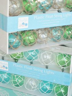 I think these (glass buoy style) Plastic Float String Lights would look great decorating the patio at a sunset BBQ.