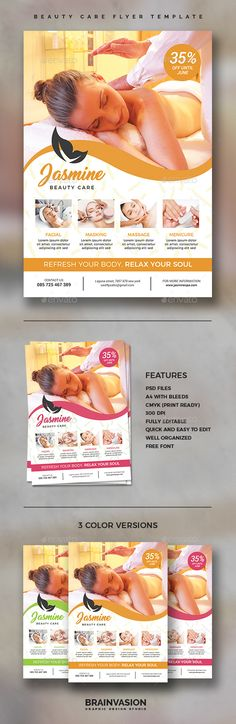 Beauty Care Flyer Template by Brainvasion FeaturesPSD files Print Ready A4 Size / 21×29,7 cm 300 dpi / CMYK Simple to Customize Well Organized Layers Only FREE fonts used F