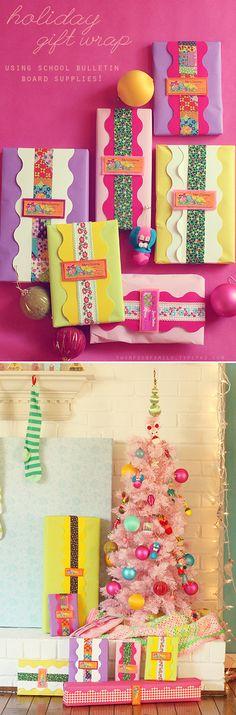 Using school bulletin board supplies make creative gift wrapping@ loveobsessinspire blog. (so festive-looking!)
