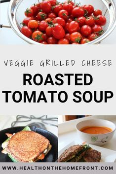 easy, homemade roasted tomato soup is made from fresh tomatoes. Served with a veggie grilled cheese and this is a healthy recipe to be enjoyed on a cold winter day. Quick Lunch Recipes, Vegetarian Recipes Easy, Clean Eating Recipes, Easy Dinner Recipes, Roasted Tomato Soup, Roasted Tomatoes, Veggie Cheese, Healthy Family Meals, Healthy Foods