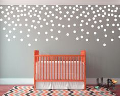 3 inch Gold polka dots wall decals (chose quantity) They do not have to be gold, Can be made in any color from the color chart. Large gold polka dots for nursery decor are super versatile. Peel and stick easy application so you can quickly arrange any pattern. One color per set.  Make a focal area, or do the whole wall. Use your creativity to create any pattern you like on one accent wall or a whole room. Gives the look or wallpaper or stencils without the mess and fuss.  Perfect for rentals…
