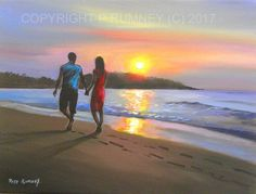 PETE RUMNEY FINE ART BUY ORIGINAL PAINTING CANVAS WALL PICTURE SUNSET BEACH in Art, Direct from the Artist, Paintings | eBay!